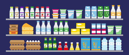 Supermarket shelves with food and drinks. Dairy, water, eggs and grocery. Vector illustration.