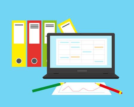 Concepto de contabilidad, análisis financiero o auditoría empresarial. Ilustración de vector plano. Ilustración de vector