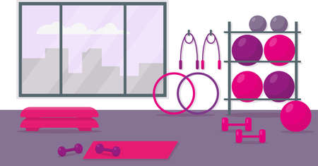 Fitness center for womens training. Gym interior with workout equipment. Vector illustration.