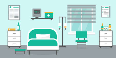 Intensive therapy room with bed, window and medical equipment. Hospital emergency room interior vector illustration.