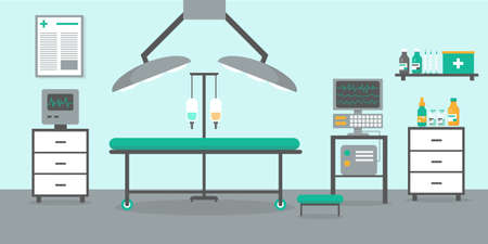 Operating room with bed, lamps and medical equipment. Hospital and clinic interior vector illustration.