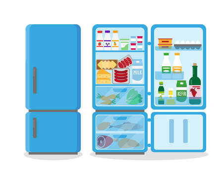 Closed and opened blue refrigerator full of food. Vector illustation. Ilustração
