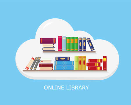 Flat vector illustration of online reading, learning or education concept. Bookshelves into the cloud on blue background.