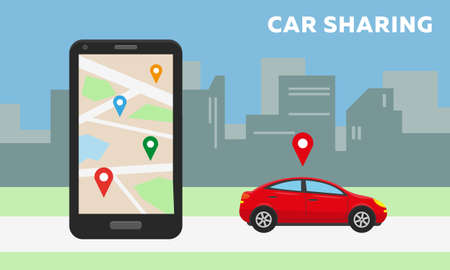 Car sharing concept. Red car in the city and big smartphone with carsharing app on the screen. Vector illustration.