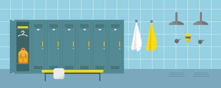 Kleedkamer en doucheruimte in sportcentrum of zwembad. Kleedplaats in fitnessclub of sportschool. Platte vectorillustratie. Vector Illustratie