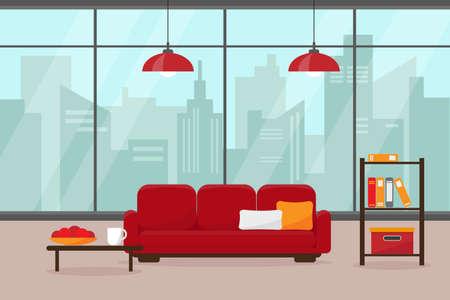 Salon moderne avec grande fenêtre et mobilier. Maison dans grande ville moderne. Illustration vectorielle intérieur.