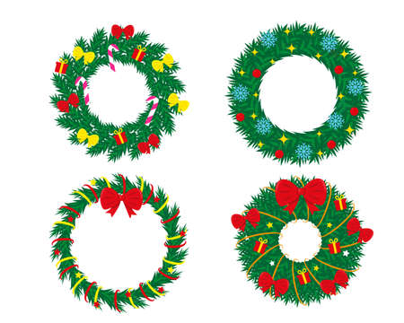 Set of decorated christmas wreaths isolated on white background. New Year and Christmas vector illustrations. Ilustracja