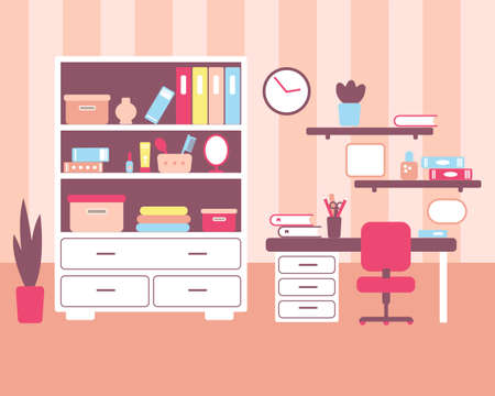 Girl room with workplace interior. Bookcase, desk, chair, clock in flat stile.