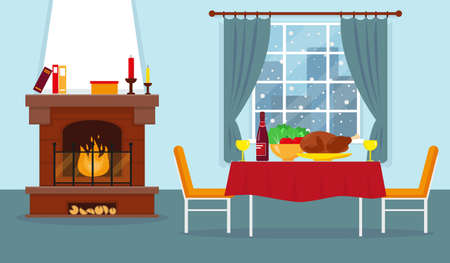 Living room with fireplace and furniture. Vector interior design.