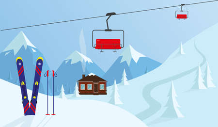 Mountain winter landscape. Winter sport design vector illustration. Vetores