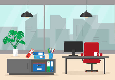 Office interior with window, furniture and plant on the floor. Vector illustration.