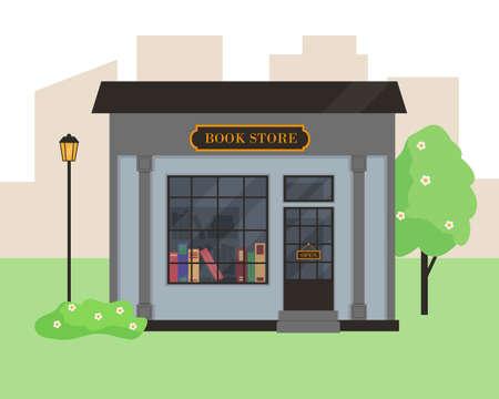 Book store building in city. Vector illustration. Illusztráció