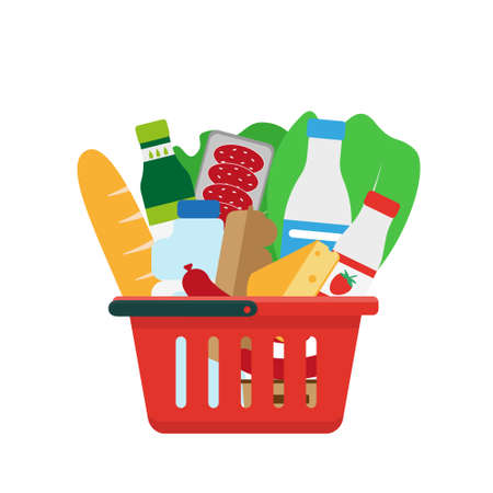 Shopping basket full of products. Vector illustration.