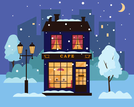 Cafe or restaurant building in winter park. Cozy house in snowy night city. Vector illustration.