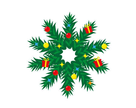 Decorated Christmas wreath isolated on white background. New Year and Christmas vector illustration.