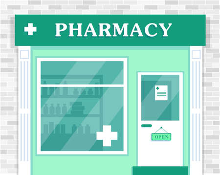 Pharmacy store exterior. Facade of pharmacy building. Vector illustration.