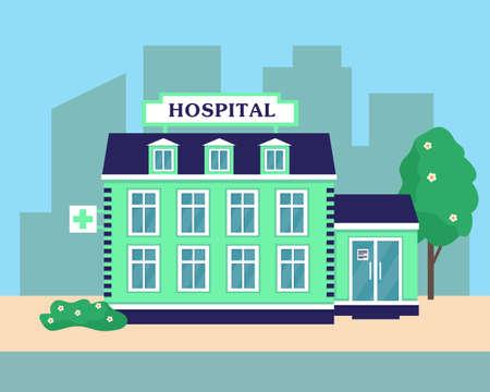 Hospital or medical center building exterior. City background vector illustration.