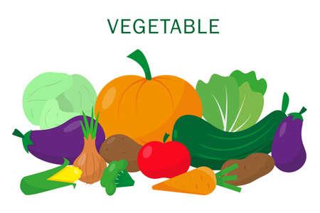Vegetable set on white background. Vector illustration. Illusztráció