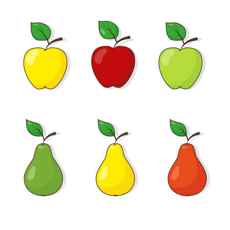 Set of different kinds of apples and pears. Fruit icons on the white background. Vector illustration.