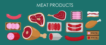 Set of meat products. Fresh meat and sausage. Vector illustration.
