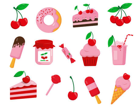 Set of cherry desserts. Sweet vector icons isolated on white background. Illusztráció