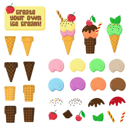 Vector collection of ice cream elements and waffle on white background. Parts of ice cream for creating own disign. Illusztráció