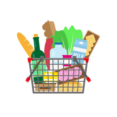 Shopping basket full of food and drinks. Vector illustration.