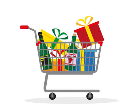 Shopping trolley with boxes, gifts and vine for holiday. Vector illustration.