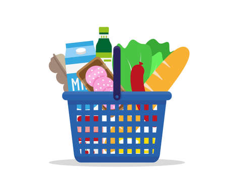 Shopping basket full of fresh products. Vector illustration.
