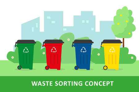 Waste sorting and recycling concept. City landscape and containers with waste. Vector illustration.