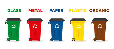 Containers for garbage of different types. Waste sorting and recycling concept. Vector icon illustration. Illusztráció