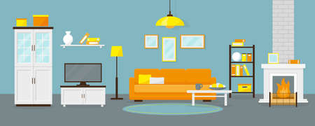 Livingroom with fireplace and furniture. Vector illustration. 일러스트