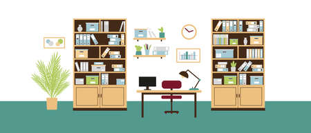 Office interior with book shelves, bookcases, chair, computer and lamp on the desk and clock on the wall in flat stile. Vector illustration.