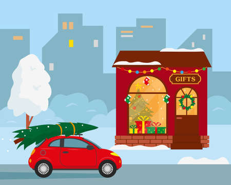 Winter city landscape. Gifts shop building and car with Christmas tree on the roof. Vector illustration.