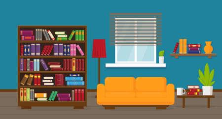 Woonkamer of appartement met boekenkast, bank, tafel, lamp, boekenplanken en raam. Interieurconcept.