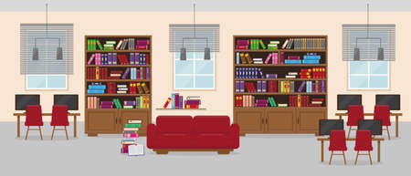 Library detailed interior in flat style. Furniture and books in modern room with windows and lamps. Vector illustration. Illusztráció