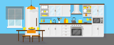 Kitchen interior with furniture, equipment and dishes. Blue background. Vector illustration.