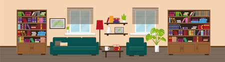 Living room or library with bookcase, sofa, table, lamp, bookshelves and window. Interior concept.