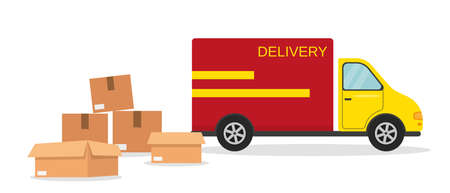 Delivery van and boxes. Fast delivery or moving concept. Vector illustration.