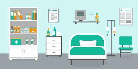 Intensive therapy room with bed and medical equipment. Hospital room interior vector illustration.