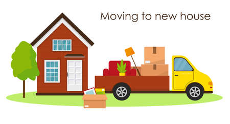 Moving in new house concept. Delivery van with armchair and boxes for moving. Vector illustration. Vektoros illusztráció