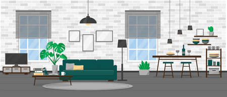Living room interior design in modern loft style. Apartment with windows and furniture. Flat vector illustration. Illustration