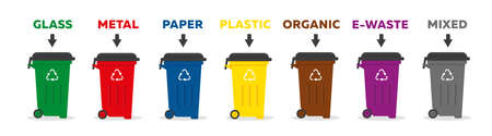 Containers for garbage of different types. Waste sorting recycling concept. Vector illustration.