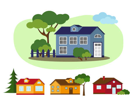 Set of country houses with trees. Village and nature elements. Vector illustration. Illusztráció
