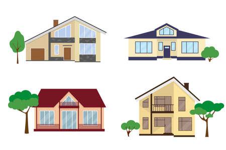 Set of four country houses in flat style. Vector illustration. Illusztráció