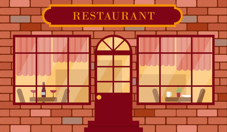 Facade of restaurant building. Detailed restaurant exterior vector illustration. Reklamní fotografie - 134984207