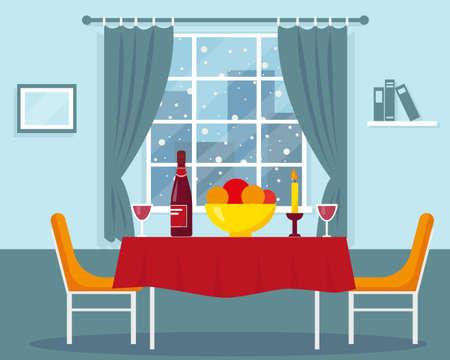Dining table for romantic dinner near the window. Vector interior design.