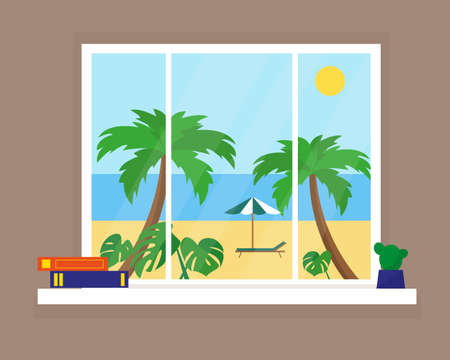 Sunny beach view from the window. Vector illustration.
