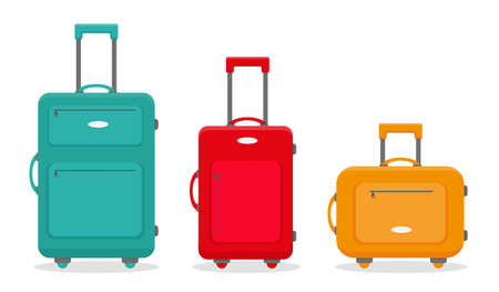 Three travel suitcases isolated on the white background. Vector illustration. 向量圖像