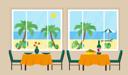 Restaurant interior with sunny beach view from the window. Vector illustration.